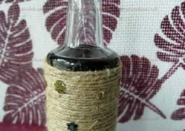 Как декорировать бутылку джутовой нитью